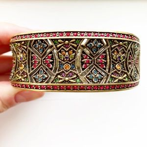 Ornate brassy & colorful crystal bangle bracelet